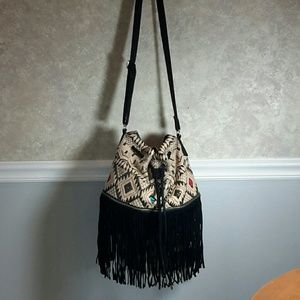 ECOTE | Boho Leather Fringe Crossbody Bag